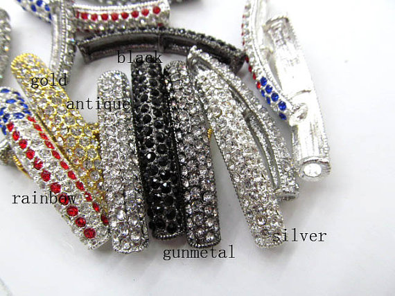 wholesale 42x8mm 50pcs rhinestone metal bar connector infinite necklace honest bracelet rhinestone embellished metal bracelet set
