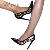Pink Palms Summer Autumn New Arrival Women High Heels Shoes Totem Black Pointed Toe Party Wedding