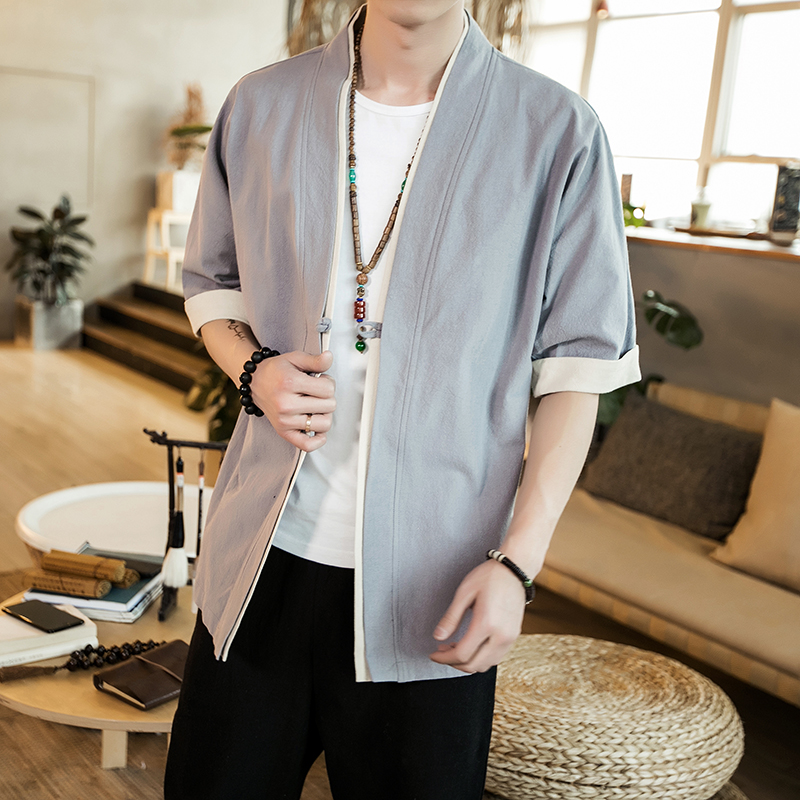Image 3 - 2019 Men Cotton Linen Jacket China Style Kongfu Coat Male Loose Kimono Cardigan Overcoat Open Stitch Coat Mens Windbreaker 5XL-in Jackets from Men's Clothing
