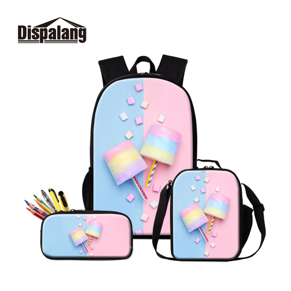 Fashion Style Spun Candy Prints On School Backpacks And Lunch Cooler Pouch With Pen Cases 3 Pieces Combination Learning Utensils