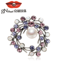 gNpearl pearl brooch Alloy inlaid freshwater 11-12mm skull shaped coffee color ladies suit shirt