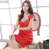 82 Short sleeve silk nightgown female summer lace sexy sleepwear red viscose summer V neck lace nightgown M 4xl