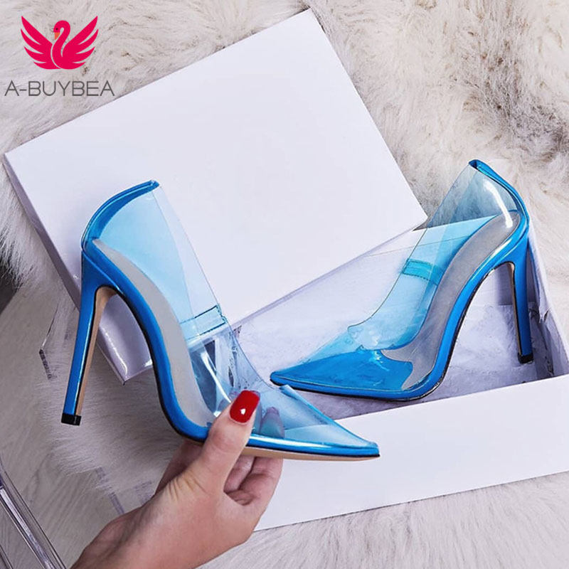 554271a9a 2019 Women Pumps Transparent Super High Heels Sexy Pointed Toe Slip-on  Wedding Party Shoes Lady transparent Thin Heels Shoes
