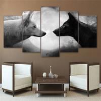 Obrazy na płótnie Drukowane 5 Sztuk Czarny I Biały Wilki Wall Art Canvas Zdjęcia Salon Sypialnia Home Decor