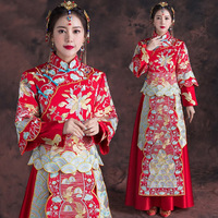 Traditional Cheongsam 2017 New Chinese Antiques For Sale Women Phoenix Embroidery Red Bride Wedding Qipao Robe Orientale Dresses