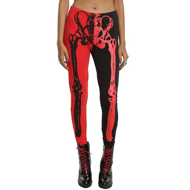 Roupas do dia das bruxas Mulheres Vermelho e Preto Leggings Esqueleto Calças Senhora Meninas Escuro 3D Punk Stretchy Funky Do Presente do Dia Das Bruxas