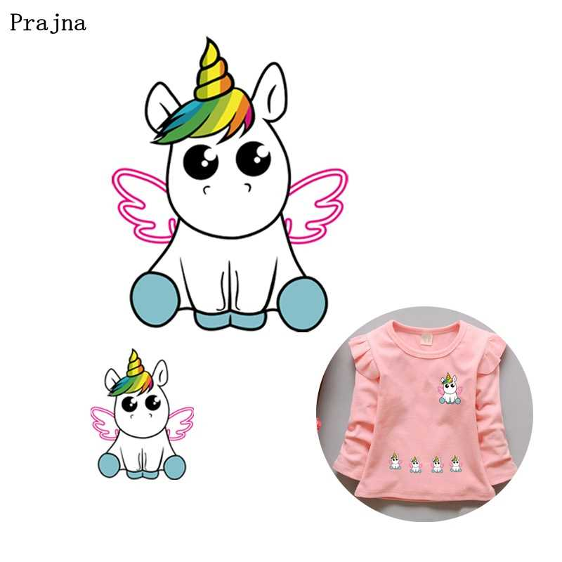 Prajna Iron On Transfer Paper Unicorn Cute Rainbow Angel Iron On Patch For  Cloth Heat Transfer Vinyl Sticker To Baby Clothing