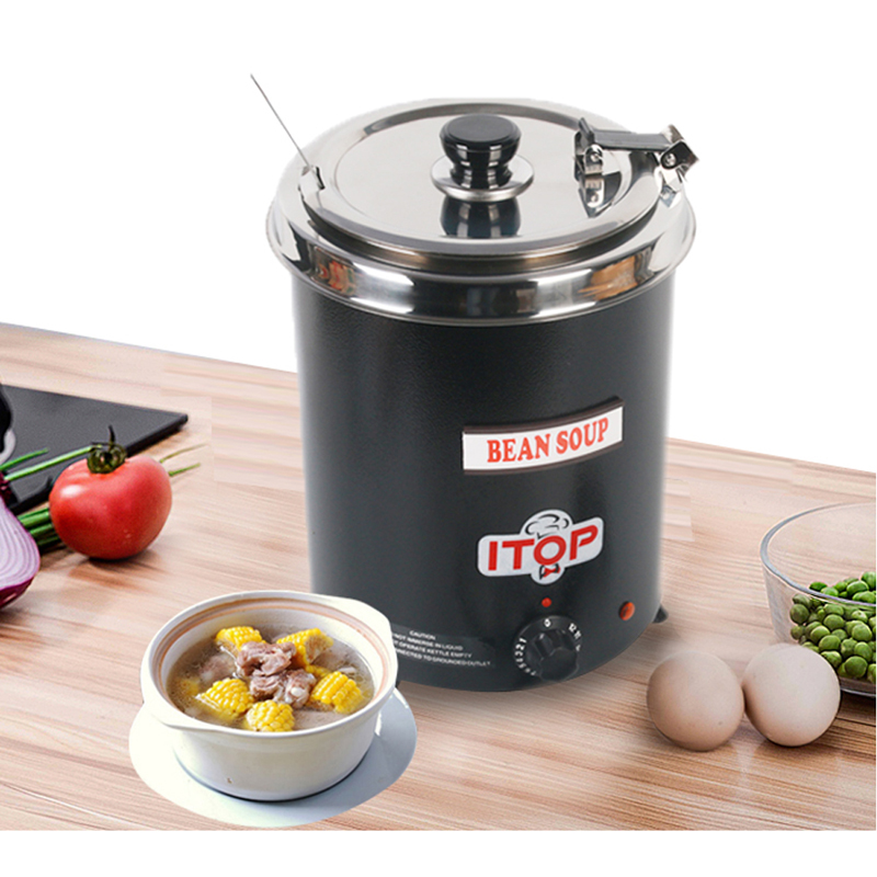 ITOP Electric Soup Kettle Soup pot 5.7L Kitchen Soup Warmer Broth Boiler Suitable for Cafeteria 110V/220V