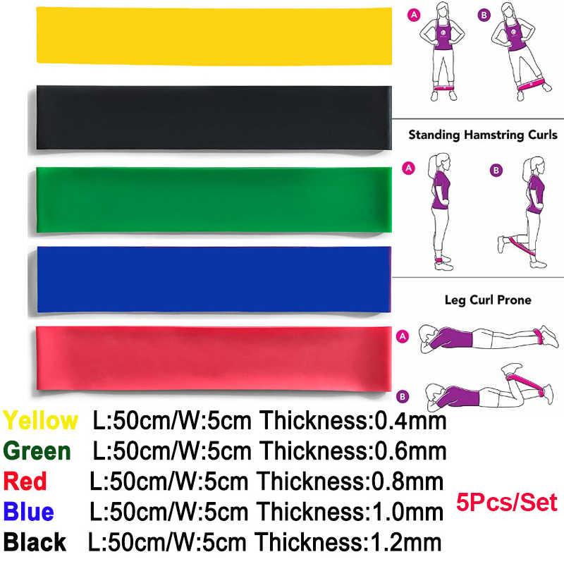 5 sztuk/zestaw wyposażenie siłowni taśmy oporowe gumy trening Fitness gumki recepturki lateksowe joga trening gimnastyczny sportowe opaski gumowe