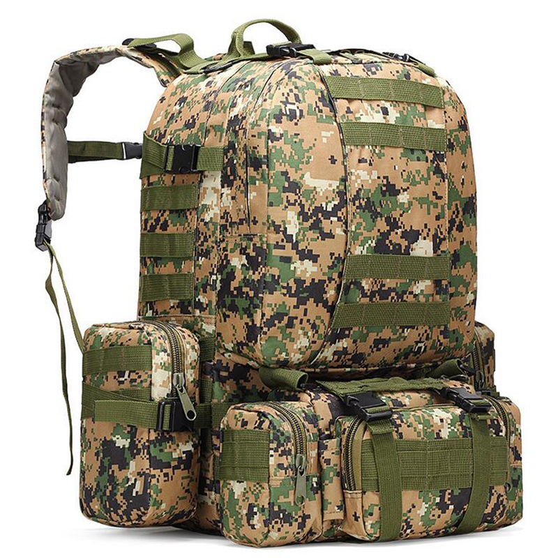 56L - 75L Outdoor Backpack Military Molle Tactical Bag Rucksack Backpacks Hiking Camping Camouflage Water Resistant Sport Bags 70l internal metal frame molle backpack rucksack water resistant bags 600d camouflage men long distance travel backpack t0071