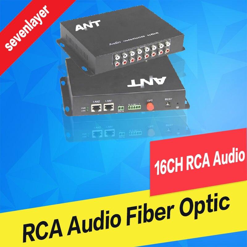 16 CH RCA audio to fiber optic Digital audio converter stereo Audio Over fiber optic Extender Converter for Broadcast system