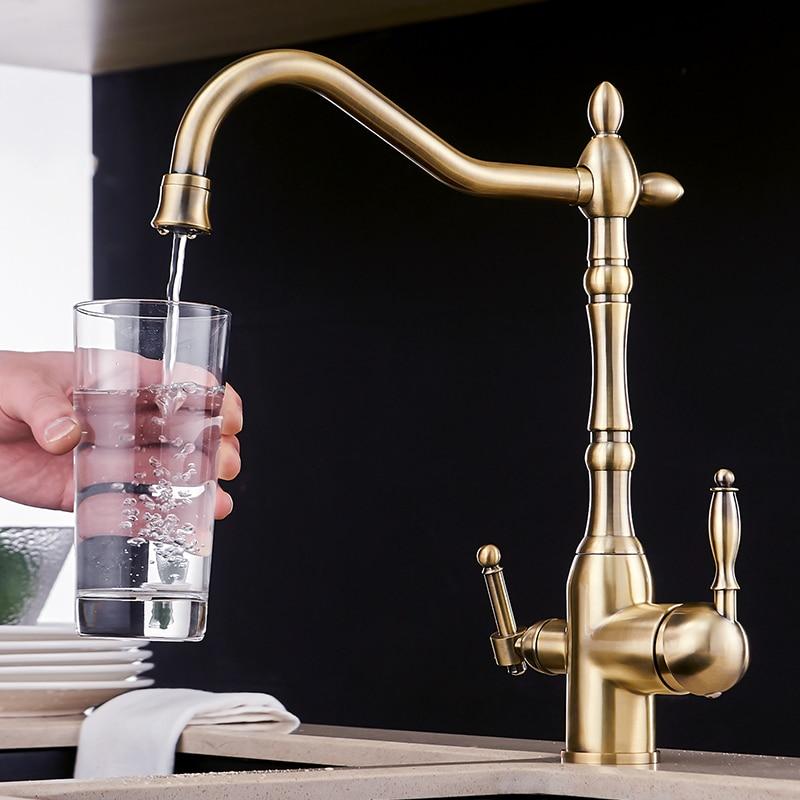 Смесители Для Очистки Кухни, Золотой смеситель для холодной и горячей воды, вращение на 360 градусов, с функцией очистки воды, кухонный кран, к...