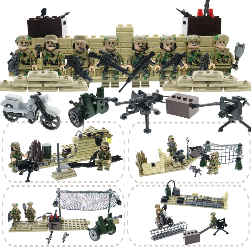 WW2 action figures with weapons and guns military German army soldiers building blocks set educational bricks toys for children military city police swat team army soldiers with weapons ww2 building blocks toys for children gift