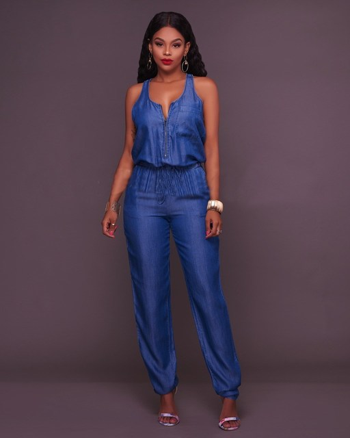 Fashion 2018 Women Casual Sleeveless Jeans Jumpsuit Solid O-Neck Denim Rompers Loose Zipper Sashes Playsuits