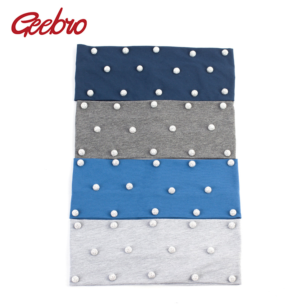 Geebro Women Silver Pearls Hair Headband Ladies Plain Color Elastic Headbands Black Hair Accessories For Girls Headwear DQ476