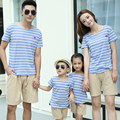 2016 Summer family cotton short-sleeved T-shirt & pants set family striped look mother father baby matching clothes