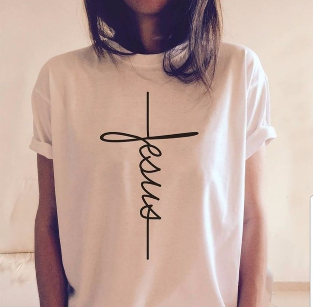 Jesús Cruz letra impresión camiseta mujer moda grunge tumblr camisetas  verano cristiano algodón rezar fe tops d006daef0f90b