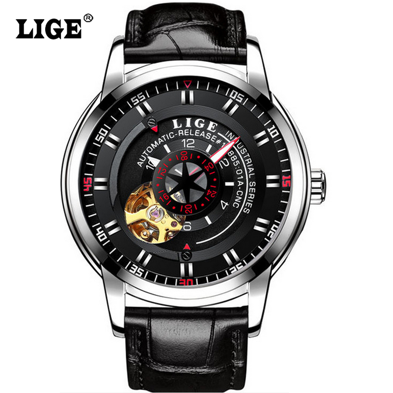 LIGE Casual Mens Mechanical Watches Leather Strap Automatic Watch Men Fashion Accessories Sport Waterproof Wristwatch warm thicken baby rompers long sleeve organic cotton autumn