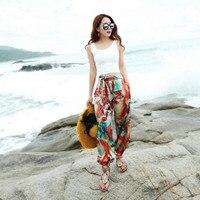 2017 New Summer Fashion Casual Loose Elastic Waist Bohemia Female Women Girls Beach Harem Pants Trousers