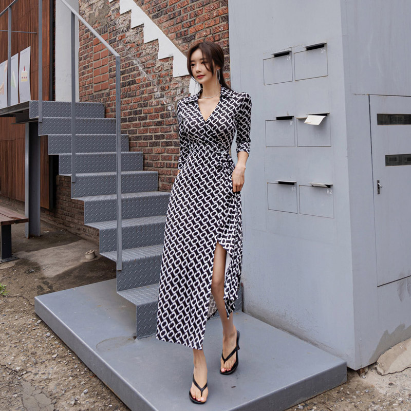 Wrap Dress Vintage Plaid V Neck Seven quarter Sleeve Lacing Up Maxi Dress Autumn Feminine Vacation Outfits Casual Dress in Dresses from Women 39 s Clothing