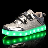 Size 25 37 USB Charging Basket Led Children Shoes With Light Up Kids Casual Boys&Girls Luminous Sneakers Glowing Shoe