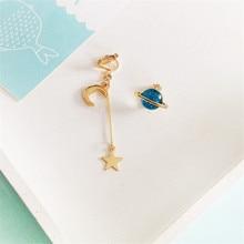 O envio gratuito de moda senhoras jóias personalidade colorida lua série planeta assimetria longo meninas brincos acessórios