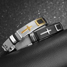 Misheng Mens Fashion Stainless Steel Mesh Bracelet Simple Cross Black/Gold 10mm Wide Geometric Charm Men 2019 Brand Jewelry
