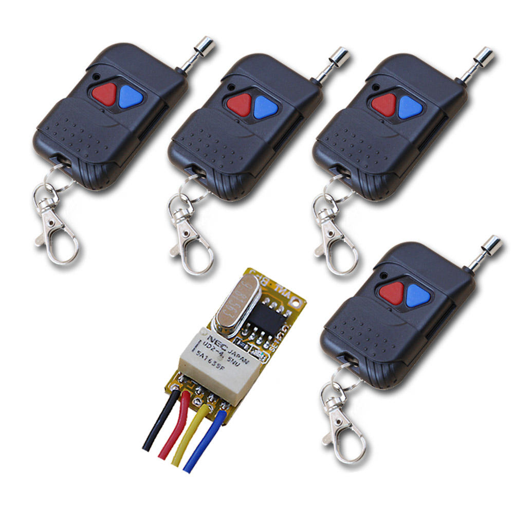 Hot Sales DC3.5V 5V 7V 9V 12V Mini Wireless Remote Control Switch 1pcs 24MM*11MM*8MM Receiver+ 4pcs Transmitter with Two Buttons
