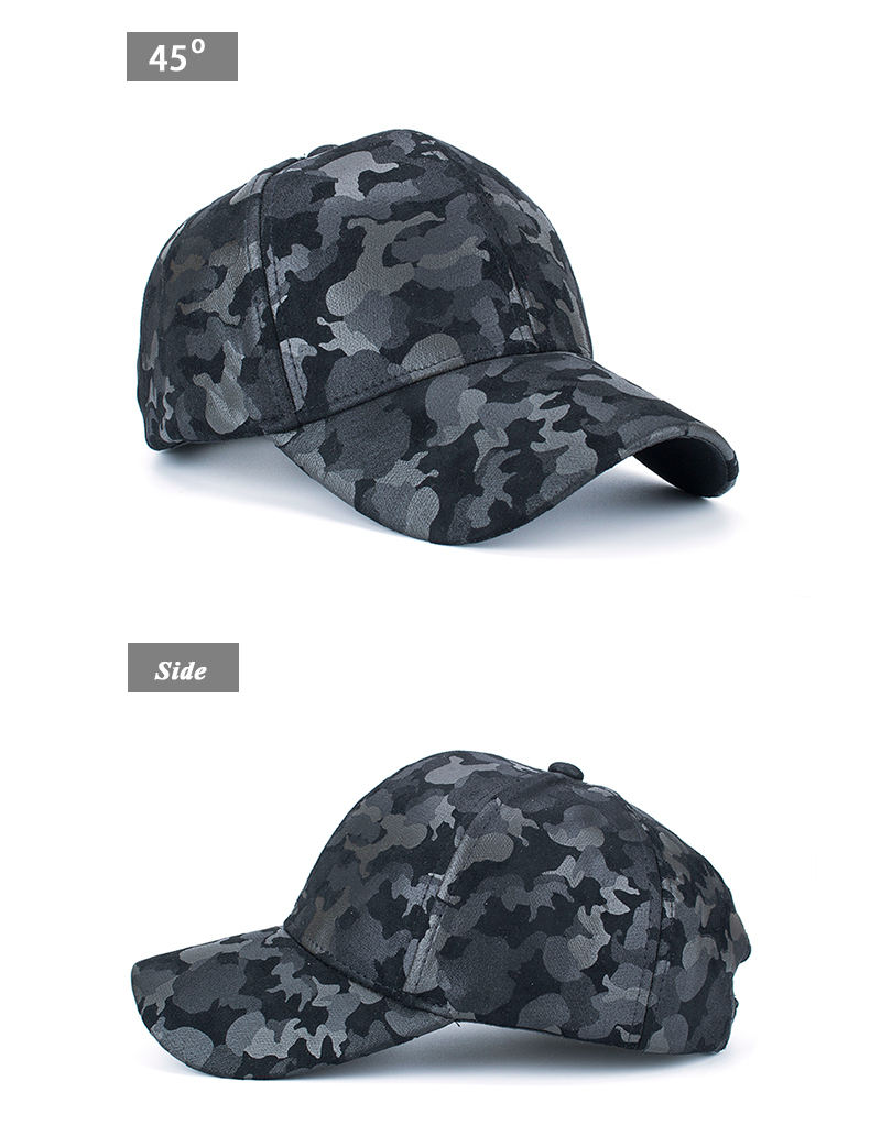 Faux Leather Camo Baseball Cap - Front Angle and Side Views