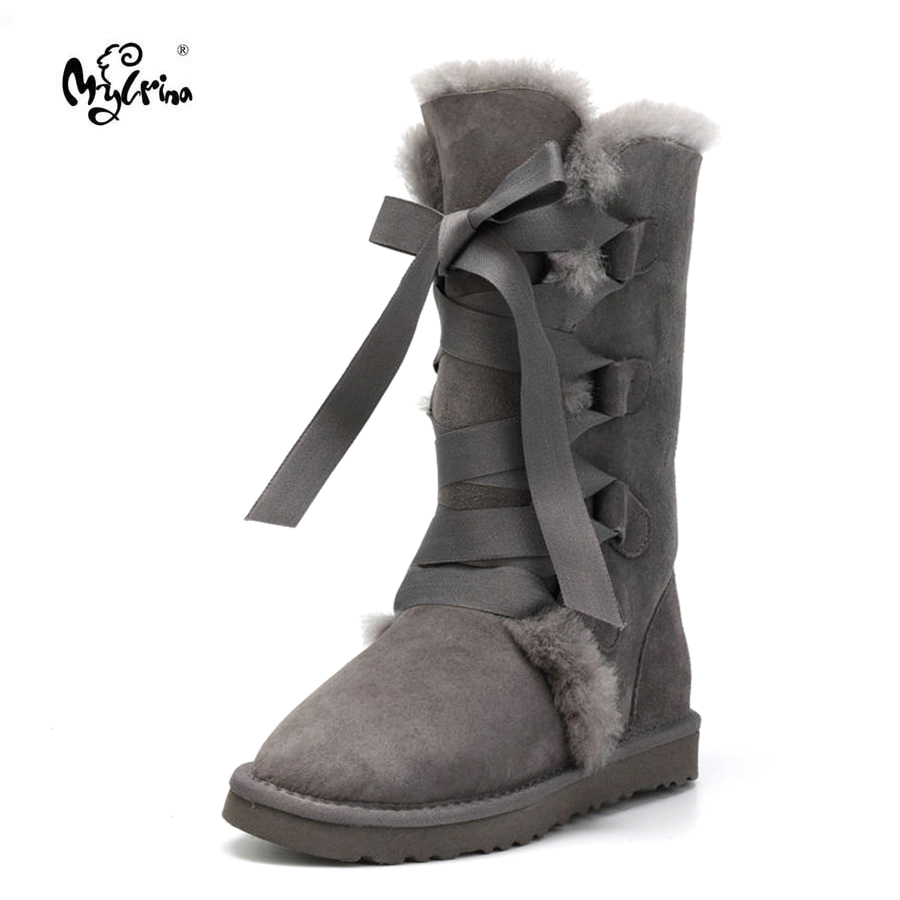 Top Quality Women Snow boots 100% Genuine Sheepskin Leather Lace up High boots Natural Fur Warm Wool Winter Non-Slip Women Boots de la chance winter women boots high quality female genuine leather boots work