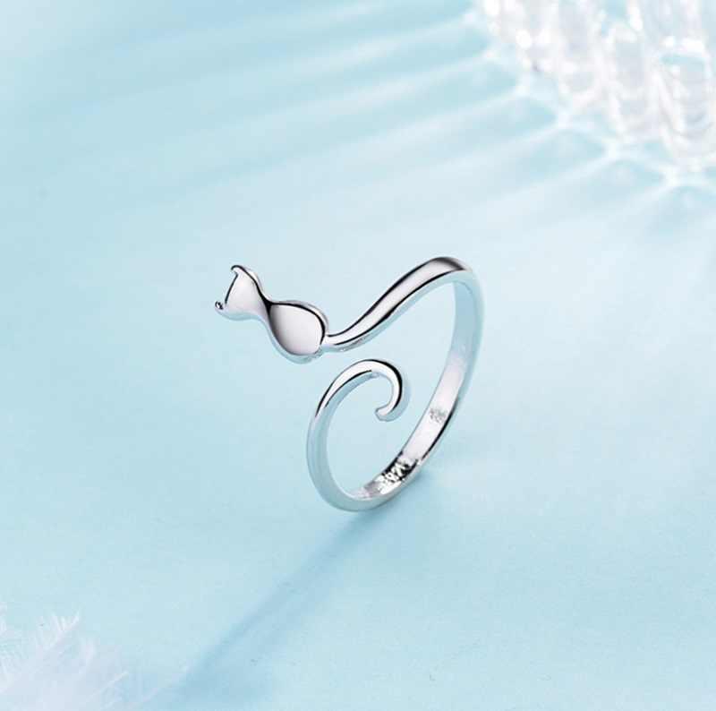Silver Finger Bell แหวนแมวสำหรับผู้หญิงสัตว์แหวนแฟชั่นสัตว์เลี้ยงงานแต่งงานเจ้าสาวเครื่องประดับ