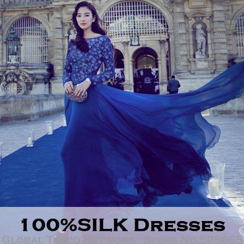 d1f9af20848c 2015 100% Silk sequin maxi dress long sleeve high waist elegant women  European Style Floor-length long Dresses Fashion Star s