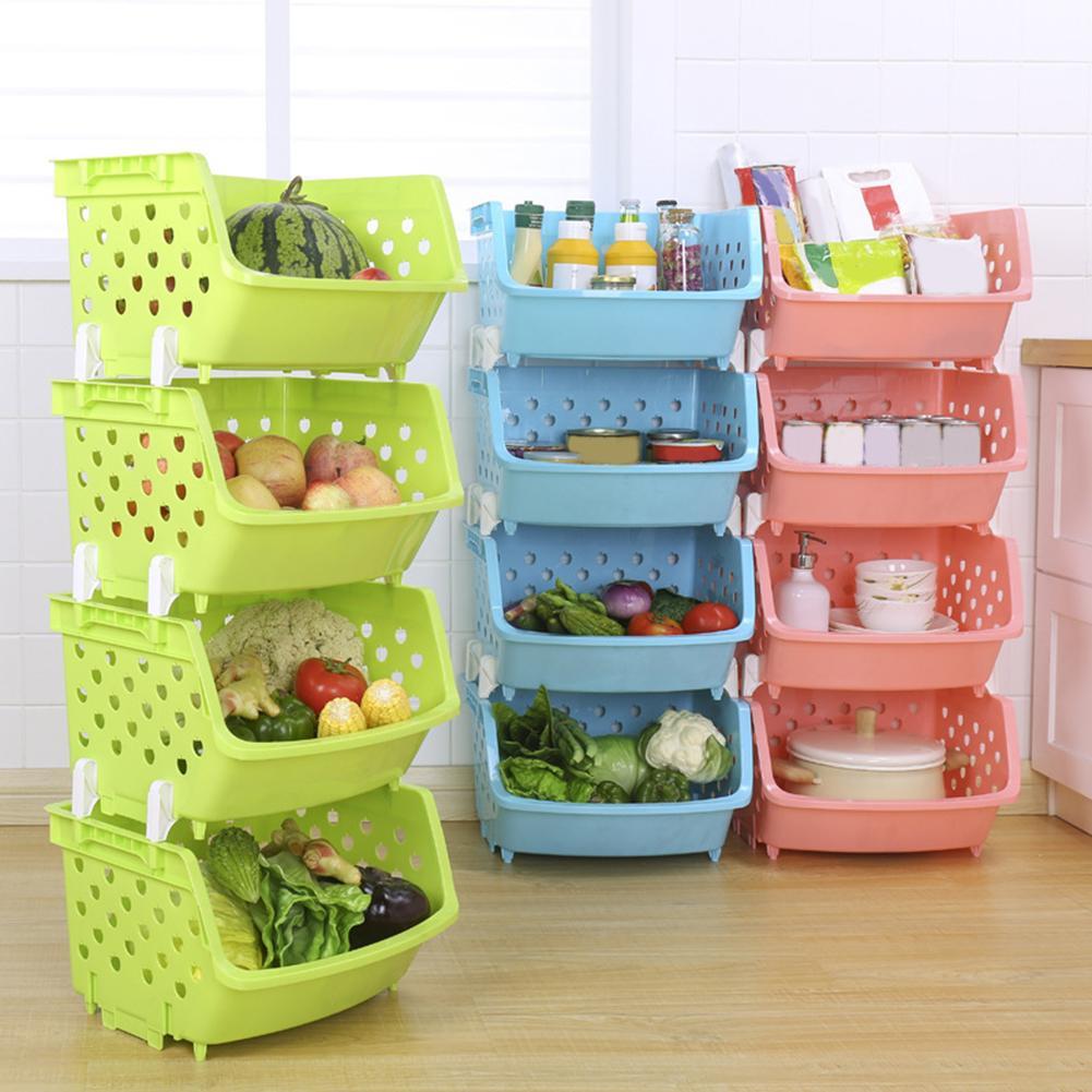 New Hot Durable Stackable Single-deck Hollow Fruit Vegetable Storage Box Colanders Strainer Kitchen Organizer Basket Shelf Racks