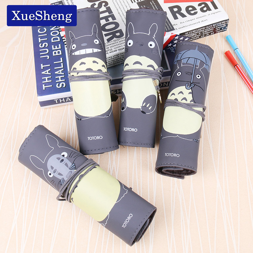 1 PC Cute My Neighbor Totoro PU Leather Creative Roll Bandage Pencil Case Storage Bag Gift Stationery School Office Supplies стоимость