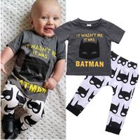 2Pcs Baby Boys Batman Clothing Set Newborn Baby Boys Cartoon Clothes Suits Outfits T Shirt Top
