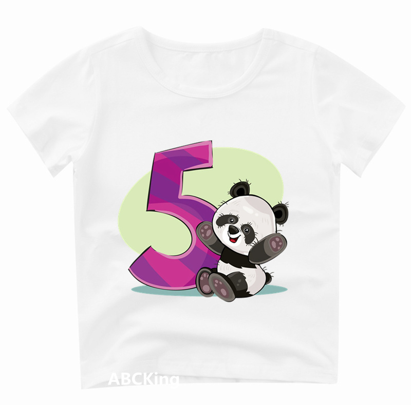 Children Birthday Number Panda 1-9 T Shirt Print O-neck Tops Tees Kids Animal Party T-shirt Boy/girl Cartoon Clothes,hkp3085