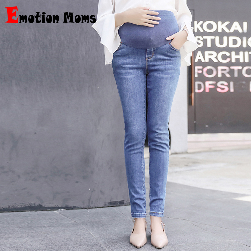 Emotion Moms Elastic Waist Skinny Maternity Jeans For Pregnant Women Fine pregnancy Pants Maternity trousers Prop Belly Legging boyfriend jeans women pencil pants trousers ladies casual stretch skinny jeans female mid waist elastic holes pant fashion 2016