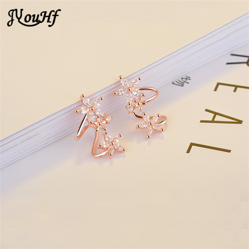 JYouHF Exquisite White/Rose Gold Color Flower Ear Clip Earrings with - Fashion Jewelry - Photo 4