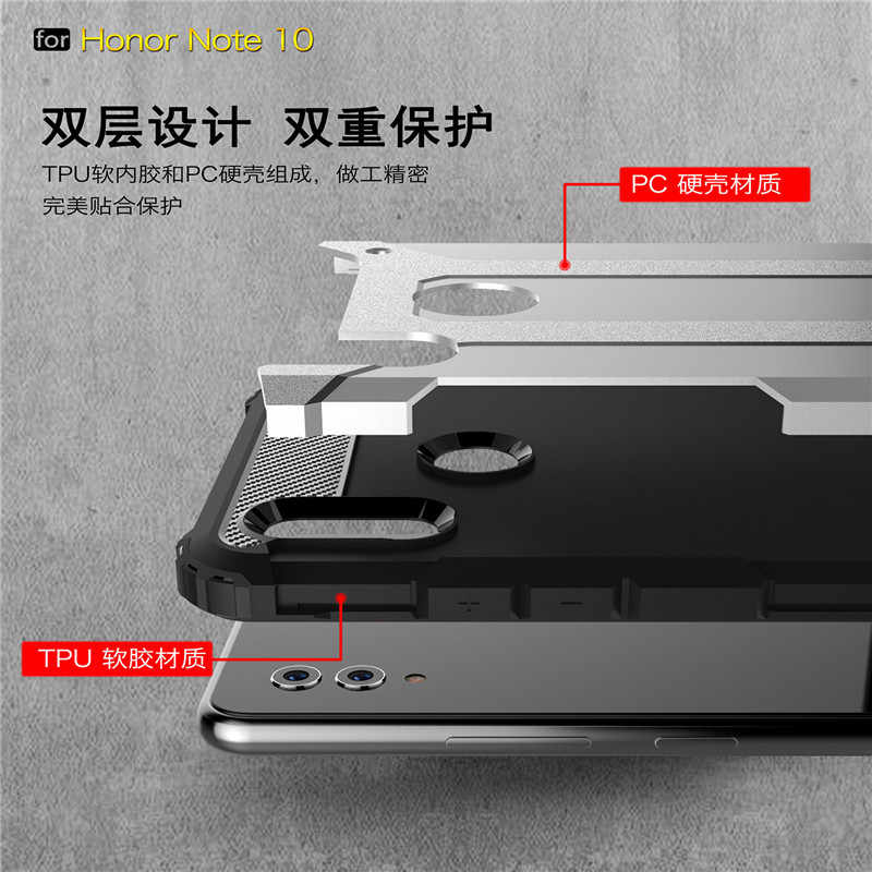 Per Huawei Honor Nota 10 Duro Robusto Armatura Hybrid PC Molle Del Silicone Antiurto Cassa Del Telefono di Lusso Per Huawei Nova 3i duro Coque