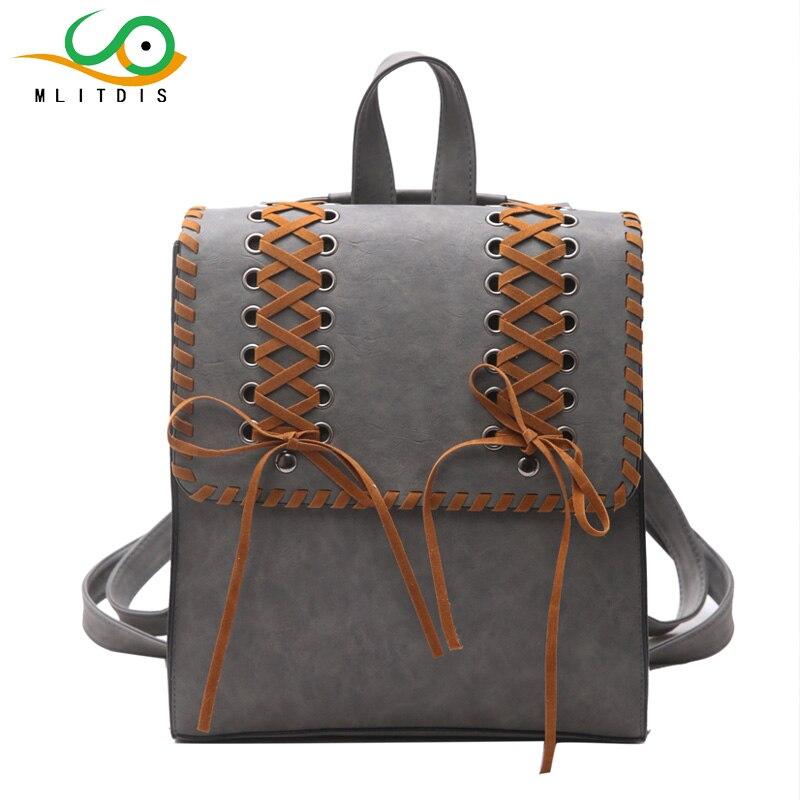 MLITDIS Women Pu Leather Backpack Fashion Square Weave Women Backpacks Fashion Girls School Bags for Teens