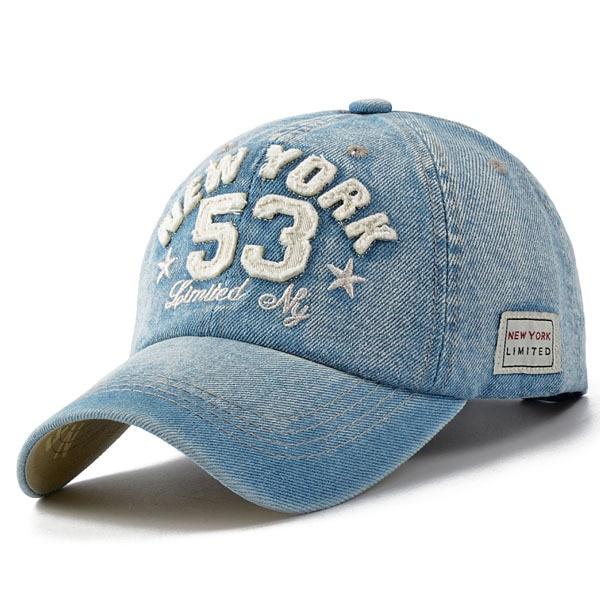 Nueva moda casual béisbol adulto niño niña gorras Denim number 53 Bordado  SnapBack casquette al aire libre Sol sombrero b 199 en Gorras de béisbol de  ... fdda9d42bb4