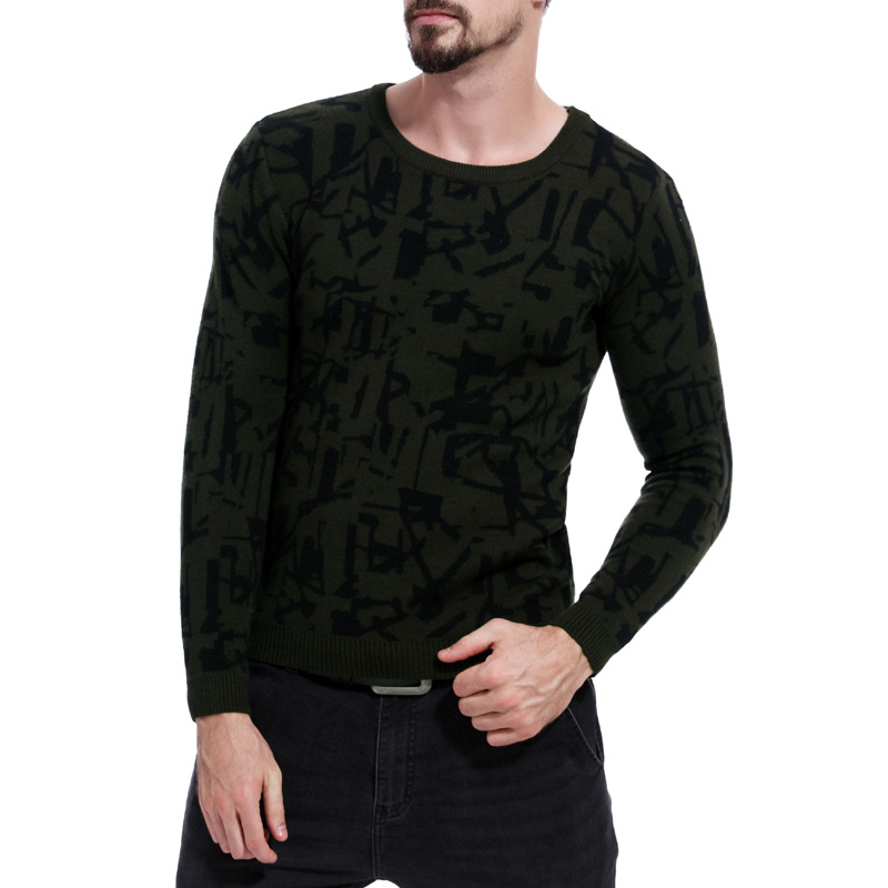 Sweater Men O-Neck Knitting Wool Full-Pullovers Army Autumn Vintage Winter Fashion High-Quality