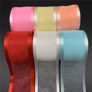 5Yards/Lot 38mm Satin Edge Organza Ribbon Bow Hair Wedding Christmas Decoration Lace Crafts(China)