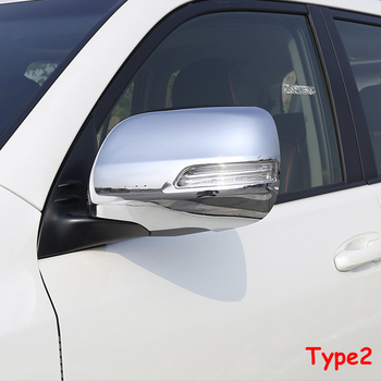 ABS chrome สำหรับ Toyota Prado FJ150 FJ 150 2010-2018 ประตูด้านข้างกระจกมองหลังกรอบฝาครอบรถจัดแต่งทรงผม 2PCS