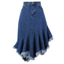 e4a384519e Mujer Faldas Irregular volantes de cola de pescado de falda de Jeans de  algodón de primavera otoño moda todo fósforo faldas azul.