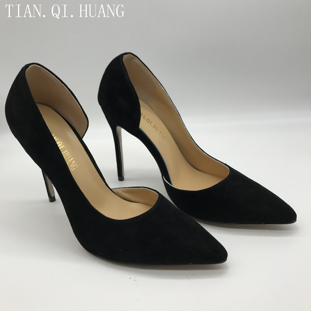 Stil Schuhe Spitze Neue Heels High Leder Echtem Offene Schwarzes Wildleder Spitz Pumpt Mode Tian Qi Huang Aus Reizvolle Frauen q6nHvC6