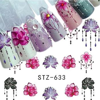 5Pcs Popular Sticker Nail Art Gradient Purple Rose Flower Nail Decals Watermark Manicure Tips Nail Water Transfer Decals Stickers & Decals