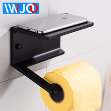 купить Creative Toilet Paper Holder with Shelf Aluminum Bathroom Tissue Roll Paper Holder Black Paper Towel Holders Rack Wall Mounted по цене 1841.35 рублей