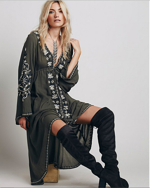 e30632ff6a4d Women Vintage Ethnic Flower Embroidered Cotton Tunic Casual Long Dress  Hippie Boho People Asymmetric High Low To quality-in Dresses from Women's  Clothing on ...