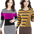 Autumn Long Pullovers Women Sweater Dress High Quality Cashmere Sweater Women Cheap Winter Clothes Stripe Tops
